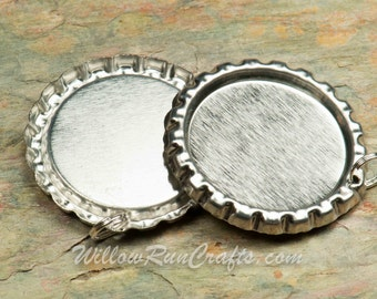 25 Silver Flattened Bottle Caps, Hole drilled with split ring attached