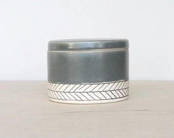 Ceramic Herringbone Salt Cellar in Storm Gray- Made to Order