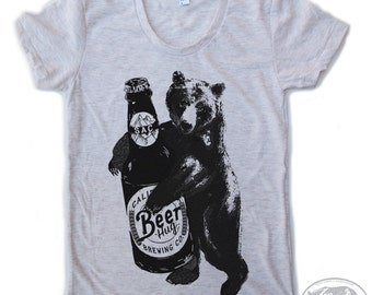 Womens BEER HUG american apparel tee S M L XL (14 Color Options)