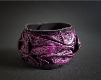 40% OFF Fuchsia leather wide bracelet Black cuff Statement jewelry