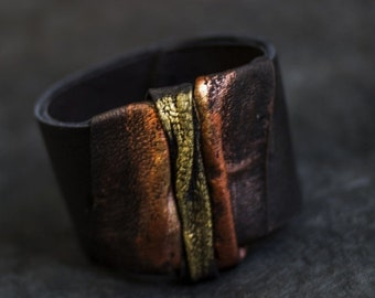 50% OFF SALE Wide elegant women's leather cuff bracelet Statement Leather jewelry
