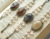 Jasper Bracelet. Vintage Assemblage Bracelet. Bezel Set Cabochon, Champagne Pearls, Mixed Metal Bracelet. Artisan Jewelry. PreciousPastimes.