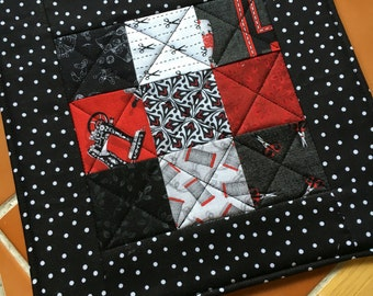 Sewing Themed black and red - Mug Rug or Candle Mat  - oversized coaster