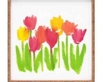 Bright Tulips Square Tray
