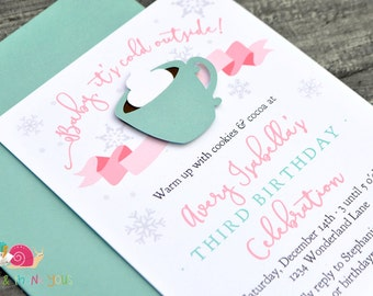 Hot Cocoa Invitations · A2 FLAT · Birthday Party | Baby Shower | Winter Wonderland