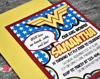 Wonder Woman Invitations · A2 LAYERED · Red Yellow Blue · Birthday Party | Superhero | Comic Book