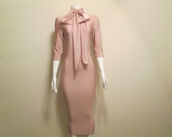 Tan Bodycon Dress with Bow
