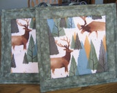 Quilted Pot Holders in a Pine Tree with Elk, Moose and Bear Pattern - Set of 2