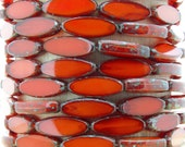 16x6mm Orange Opal Picasso Table Cut Firepolish Czech Glass Spindle Beads - Qty 12 (BS72)