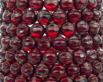 6mm Transparent Ruby Picasso Czech Glass Melon Beads - Qty 25 (BW174)