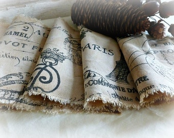 Hand Distressed and Old and Tired Looking!  Parisian Scripted Ribbon with All the Bells and Whistles