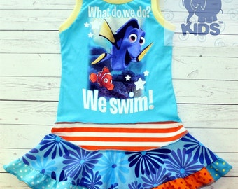 Just keep swimming - a dress made out of authentic FINDING DORY  tshirt super cool funky recycled upcycled  pieced  size 4