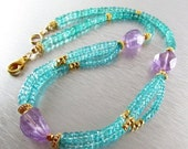 BIGGEST SALE EVER Triple Strand Apatite With Amethyst Nuggets and Gold Accents