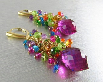 20 % Off Colorful Quartz Earrings Gold Filled Wire Wrapped Cluster Earrings