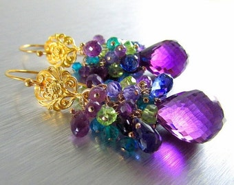 BIGGEST SALE EVER Amethyst With Garnet, Peridot, Chrome Diopside, Kyanite And Quartz Gold Gf Earrings