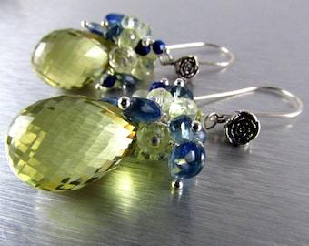 Lemon Quartz With Kyanite And Lapis Lazuli Gemstone Dangle Cluster Earrings