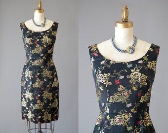 DuPon Gai Dress | vintage 1950s brocade satin dress | 50s wiggle cocktail dress