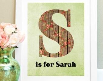 Girl Nursery Wall Decor, Personalized Nursery, Child Wall Art, Custom Floral Letter, New Mom Gift, Girl Room Decor, Baby Girl Nursery Art