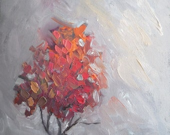 "Tree Painting, Fall Colors Maple Tree, Small Oil Painting, Palette Knife Painting, 6x8"" Oil Painting"