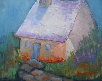 "Impressionist House Painting, Fairy House, Small Landscape Painting, 6x8"" Oil Painting, Impasto Painting"