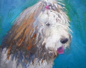 "Old English Sheepdog Painting, Pet Portrait, Shaggy dog painting, 8x8x1.5"" oil, original by CarolSchiffStudio"