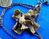 Cross  Dove of Peace    The Holy Spirit  Pendant cross made of bronze Canada Design