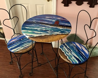 Hand Painted 3 Piece Bistro Set - Charlevoix Lighthouse ~ Free Shipping