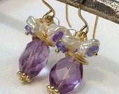 CUPID SALE Amethyst Earrings, Tanzanite Keishi Pearl Cluster Earrings, Blue Violet Dangle Earrings, Semiprecious Gemstones, Petite Cluster E