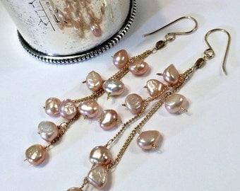 SUPER SALE 60% OFF Blush Pearl Long Dangle Earrings 14kt Gold Fill Chain Tassel Earrings Wire Wrap Bohemian Pearl Earrings