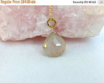 55% OFF SALE Rutilated Quartz Choker, Gold Gemstone Necklace, Gold Fill Minimalist Choker, Simple Everyday Necklace Handmade Wire Wrap Jewel