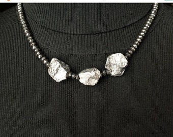 50% OFF SALE Pyrite Hematite Statement Necklace Chunky Silver Grey Pyrite Nuggets Choker Winter Metallic Necklace
