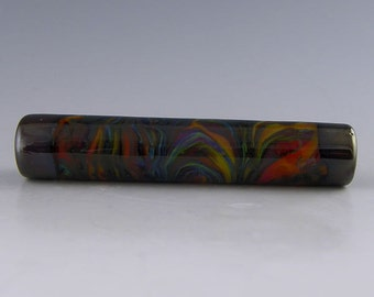 a long multicolored tube focal with dark silver plum accents handmade lampwork glass bead - Kaleidoscope