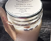 HONEY FIG 100% All Natural Soy Candles Phthalate & GMO Free ~Kosher Certified ~ dye/additive free ~ Highly Scented hand-Poured Candles