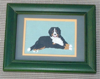 Bernese Mountain Dog Portrait, Hand Embroidered, Framed