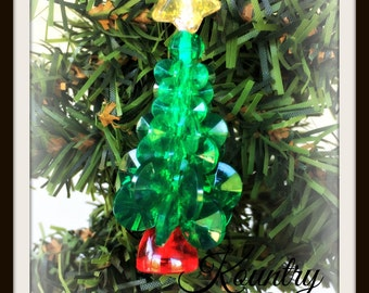 Glistening Beaded Tree Ornament /Glistening Beaded Tree Handcrafted Ornament (Ready to Ship)
