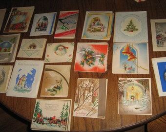 lot of 20 vintage used Christmas cards w/ envelopes dated 1930s- 1940s lot -2