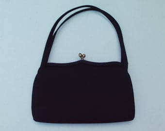 Small Vintage Black Purse Saks Fifth Avenue 1960s Handbag Pocketbook bag