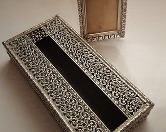 x2 Lot Silver filigree kleenex tissue box retro ornate bath decor picture frame