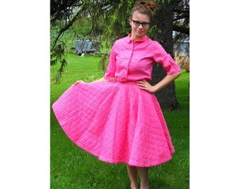 Vintage 50s skirt dress blouse poodle pink collector small Dance saddle shoes glasses