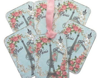 Tags Effel Tower- Gift Tag- Paris Gift -Hang -Birthday- Bridal Shower- Tea Party- French HighTea- Paris Decor- Scrapbooking Layout- Handmade