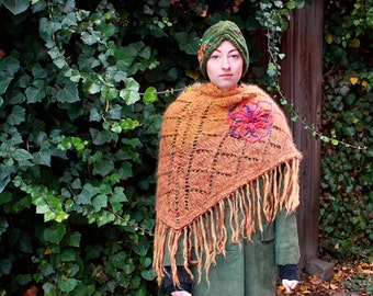 knitted triangular wrap embroidered shawl handknitted leaf gold fall silk mohair winter wrap
