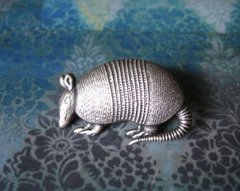 Arnold - Antiqued Silver Plated Armadillo Brooch, Lapel Pin or Tie Pin, Tie Tack with Gift Box
