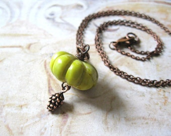Woodland Amulet - Hand Carved Jade Pumpkin Bead and Copper Pine Cone Charm Handmade Necklace - Gift Box