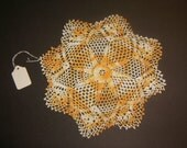 Vintage Crochet Doily Variegated Yellows and Oranges - 0802