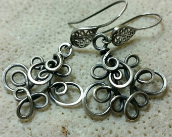 Sterling Silver Forest Elf Earrings - Handmade and Oxidized