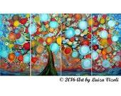 "Abstract 48"" Landscape LEMON Tree Original Painting Whimsical RAIN Art by Luiza Vizoli"