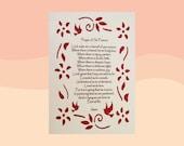 St. Francis Prayer Paper Cut Design Inspirational Art Wall Art 5X7