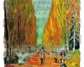 Alice Visits Van Gogh's Aly Champs, Alice In Wonderland Decoration, Home Decor, Vincent Van Gogh, Dictionary Print, Fantasy Art, Trippy Art