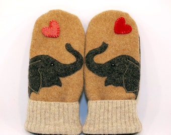 Eco Friendly Wool Sweater Mittens Felted Beige Dark Grey and Brown Elephant Applique Fleece Lining Leather Palm Upcycled Size M/L