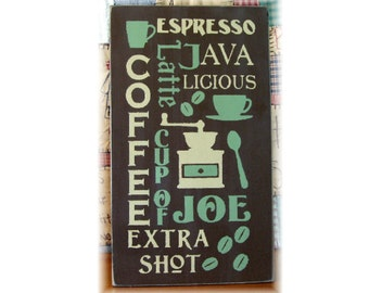 Coffee typography wood sign